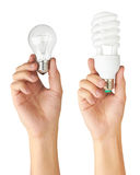 Light bulb in hand Stock Photography