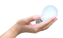 Light bulb in hand Royalty Free Stock Photography