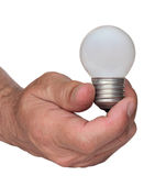 Light bulb in hand Royalty Free Stock Images
