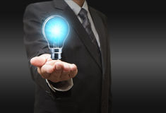 Light bulb in hand Royalty Free Stock Photos