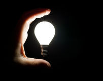 Light bulb and hand Stock Photos