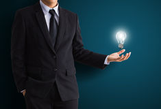 Light bulb in hand. Light bulb in business hand Stock Photography