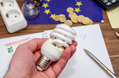 Light bulb in hand, calculator and dollar and coins Stock Photos