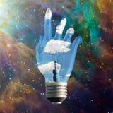 Light bulb hand Royalty Free Stock Photo