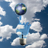 Light Bulb Hand Earth Royalty Free Stock Images
