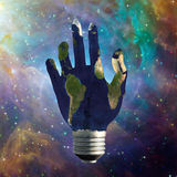 Light Bulb Hand Earth Stock Photography