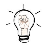 Light bulb hand fight believe hand drawn  on white backgro Royalty Free Stock Photos