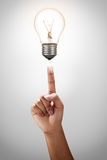 Light bulb with hand Stock Image