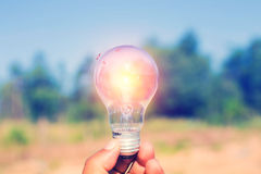 Light bulb in hand Hall of Famer Stock Photos