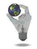 Light Bulb hand holds earth Royalty Free Stock Photography