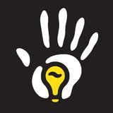 Light bulb hand print Royalty Free Stock Photography