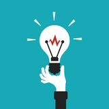 Light bulb in hand vector concept in flat cartoon style Royalty Free Stock Photos