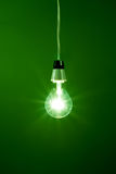 Light bulb hanging against green background Stock Images