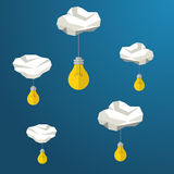 Light bulb hanging from clouds, idea concept. Modern polygonal shapes background, low poly Stock Image