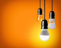 Light bulb. Hanging tungsten light bulb, energy saving and LED bulb Stock Photos