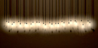 Free Light Bulb Hanging Wall Arrangement Front Royalty Free Stock Photography - 31106517