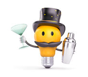 The light bulb in the hat and mustache say - Hello Stock Photography