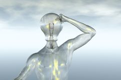 Light bulb head. Idea thought 3d render concept image Stock Image