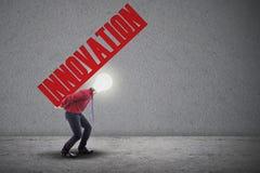 Light bulb head carry innovation Stock Image