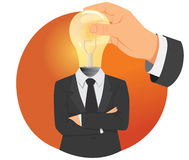 Light bulb head Stock Photo