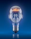 Light bulb head. With word idea - 3D concept Royalty Free Stock Photos