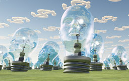 Light Bulb heads and dollar clouds Royalty Free Stock Images