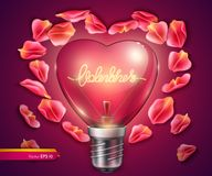 Light bulb heart shaped. Vector realistic 3d illustration. Valentine day card. Light bulb heart shaped. Vector realistic 3d illustration. Valentine day bright Royalty Free Stock Photos