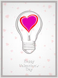 Light bulb with heart valentine Day background Royalty Free Stock Photo