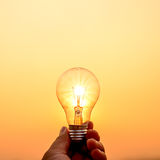 Light bulb hold in hand Stock Images