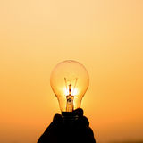 Light bulb hold in hand Royalty Free Stock Photos