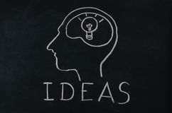 Light bulb in human brain with idea concept Royalty Free Stock Image