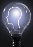 Light bulb human profile Stock Photos