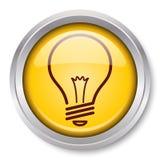 Light Bulb Icon. Vector Light Bulb Icon Glossy Metallic Button. EPS10 Stock Photo