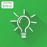 Light bulb icon. Business concept hand drawn idea doodle pictogr. Am. Vector illustration on green background with long shadow Stock Photography