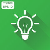 Light bulb icon. Business concept Idea, electric lamp pictogram. Vector illustration on green background with long shadow Royalty Free Stock Photo
