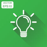 Light bulb icon. Business concept idea lightbulb pictogram. Vect. Or illustration on green background with long shadow Royalty Free Stock Photo