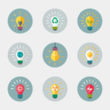 Light bulb icon. Light bulb flat vector icon with ecological energy symbols Royalty Free Stock Photography