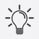 Light Bulb Icon In White Background. Idea Flat Vector Illustrati Stock Photo