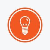 Light bulb icon. Lamp E14 screw socket symbol. Royalty Free Stock Images