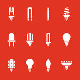 The light bulb icon, set of 12 icons. Lamp and bulb, lightbulb symbol.UI. Web. Logo. Sign. Flat design. App. Royalty Free Stock Photography