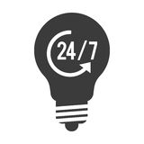 Light bulb icon. Simple black and white lightbulb with 24 7 and arrow in the center  illustration flat style design Royalty Free Stock Photos
