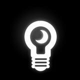 Light bulb icon. White light bulb icon on black background Royalty Free Stock Photos