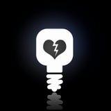 Light bulb icon. White light bulb icon on black background Stock Photo