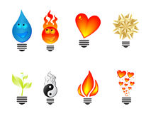 Light bulb icons. Made with different shape Stock Photography