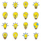 Light bulb icons collection in trendy flat style isolated on white background. stock photography