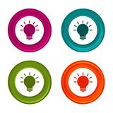 Light bulb icons. Idea signs. Lamp symbol. Colorful web button with icon.  royalty free illustration