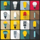Light bulb icons set, flat style Royalty Free Stock Photos