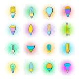 Light bulb icons set, pop-art style Royalty Free Stock Image