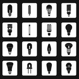 Light bulb icons set, simple style Royalty Free Stock Photography