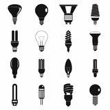 Light bulb icons set, simple style Stock Photography
